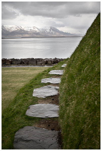 A path in Iceland with Esja in the background