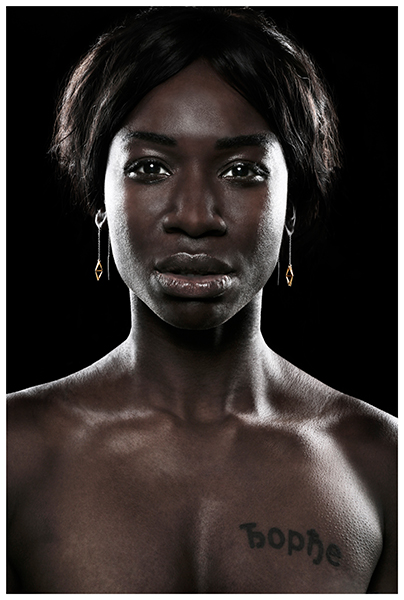 Dark skinned model with jewelry