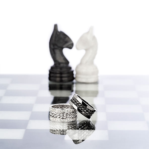 Jewelry still Life with chess pieces